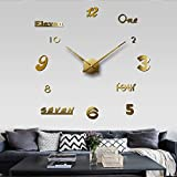 Aemember Wall Mount Wall Clock _Big Mute Solar-Cell Diy Mute Wall Mount Wall Clock With The Clock In The Living Room, Golden G005