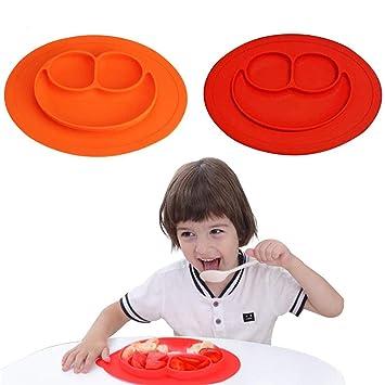 Baby Teller kinderteller mit saugnapf Silikon Rutschfester Baby Tischset Baby Teller Rutschfest Tischset f/ür Kleinkinder und Kinder Geeignet Frei von BPA f/ür die meisten Hochstuhlschalen
