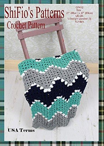 Crochet Pattern-KP412-ripple baby blanket afghan-USA Terminology Crochet Baby Ripple Afghan
