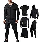 BUYJYA 5Pcs Men's Compression Pants Shirt Top Long Sleeve Jacket Set Suit (Black, XXL)