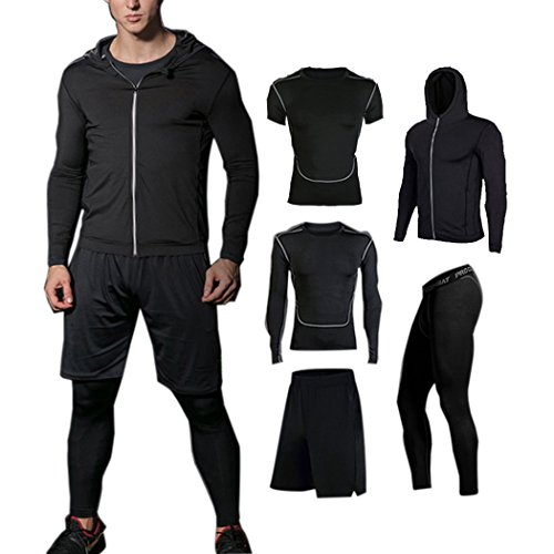 BUYJYA 5Pcs Compression Pants Shirt Top Long Sleeve Men's Fitness Suit(Black, M)