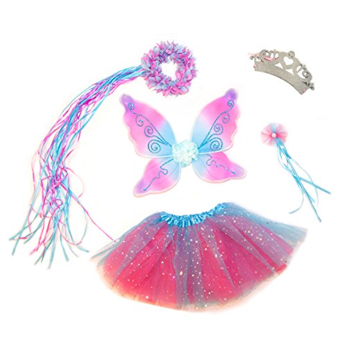 5 Piece Sparkling Magic Hot Pink and Blue Fairy Princess Set (Girls Fairy Princess Costume)
