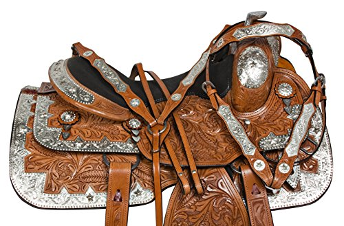 "16"" ALL PURPOSE WESTERN SHOW PLEASURE TRAIL LEATHER TEXAS STAR SILVER PLATES HORSE SADDLE HEADSTALL BREAST COLLAR (16) (Breast Texas Collar Star)"