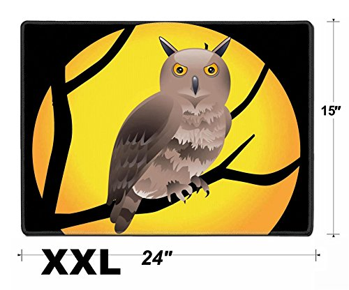 Liili Extra Large Mouse Pad XXL Extended Non-Slip Rubber Gaming Mousepad 24x15 Inch, 3mm thick Stitched Edge Desk Mat abstract halloween wallpaper vector illustration Photo (Halloween Desktop Wallpaper)