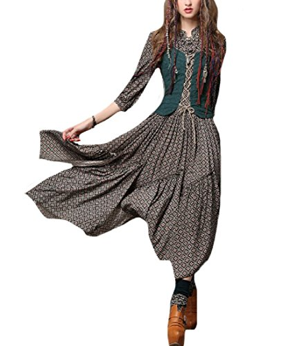Embroidery Long Spring Skinny Maxi Women Vintage Green Blackish Dress Printed Coolred 5Ytqw5
