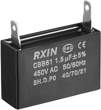 sourcing map Condensador De Funcionamiento CBB61 1.5Uf 450V AC ...