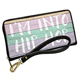 Wallet Clutch I'm Into Hip Hop Pastel Wood Easter with Removable Wristlet Strap Neonblond