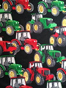 amazon com 1 yard farm tractors on black non pill fleece fabric