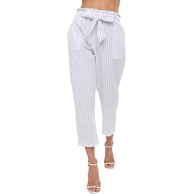 deb251b5ce3c Botrong Women High Waist Harem Pants Women Stripe Elastic Waist Stripe Pants  (S)