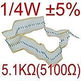 Puuli 100Pcs 1/4 Watt ±5% 0.25W 5100 Ohm 5.1kΩ Carbon Film Resistors