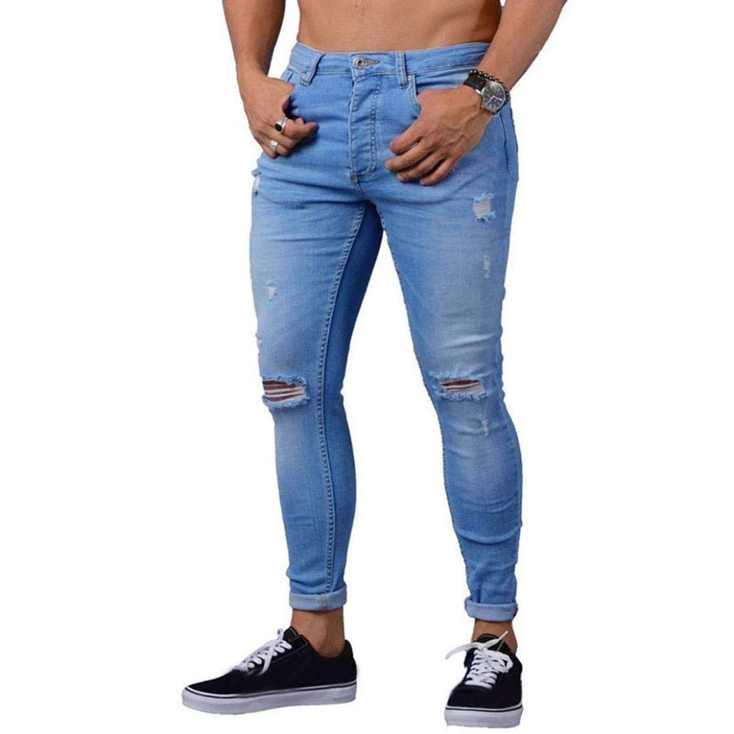 kingf Men's Ripped Jeans Destroyed Skinny Stretch Washed Pencil Denim Trousers Pants kingfansion -Pants