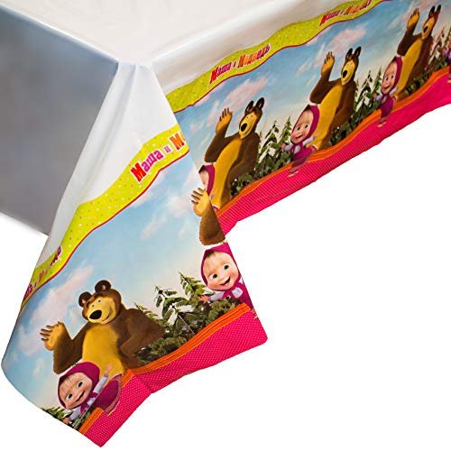 Bright Tablecloth Masha and the Bear for Kids Birthday Party Supplies with Favorite Characters -