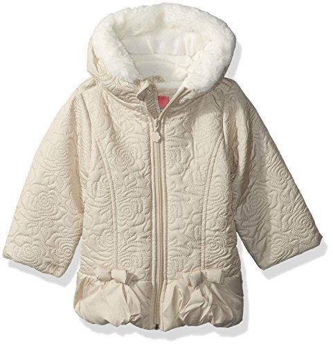 Wippette Girls' Toddler Sueded Microfiber Quilted Puffer, Khaki, 3T