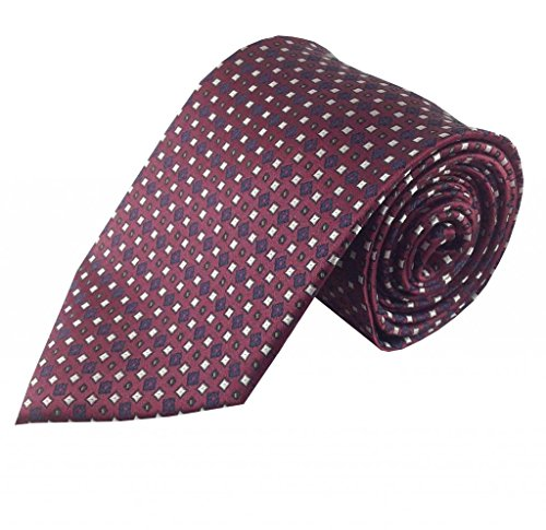 Mens Necktie Red Maroon with Blue and Ivory Accents Fashion Tie