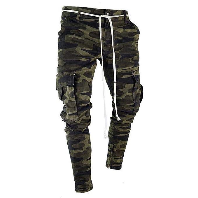 Logobeing Pantalones Pantalones Hombre Pitillo Elásticos de ...