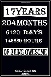 You Have 17  year,  204  month , 6120  day and  146880  hour Of Being Owesome  Birthday NoteBook 2020  For you gift: Lined Notebook / Journal Gift, 120 Pages, 6x9, Soft Cover, Glossy Finish