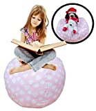 Stuffed Animal Storage Bean Bag Chair – Premium Seat – Easy Solution for Extra Toys / Blankets / Covers / Towels / Clothes (Pink)