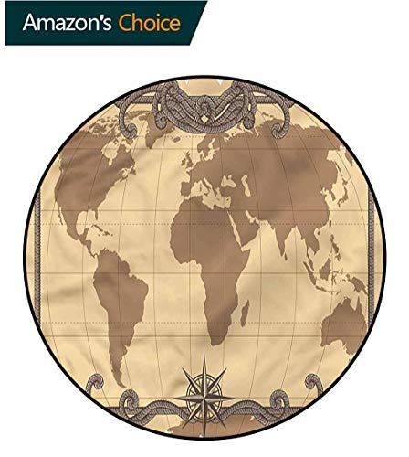 RUGSMAT World Map Round Rug,Cartography Themed Atlas Circle Rugs for Living Room -
