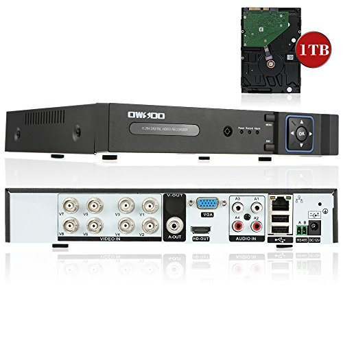 OWSOO 8CH Full 1080N(9601080) AHD DVR HVR NVR H.264 HDMI P2P Cloud Network DVR Digital Video Recorder with 3.5'' Inch 1TB HDD by OWSOO