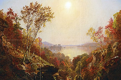 THE GREENWOOD LAKE by Jasper Francis Cropsey landscape trees autumn Tile Mural Kitchen Bathroom Wall Backsplash Behind Stove Range Sink Splashback 3x2 6