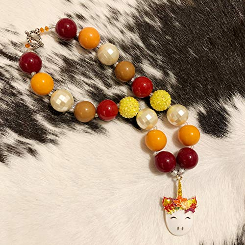 Fall Autumn Unicorn Chunky Bubblegum Necklace ()