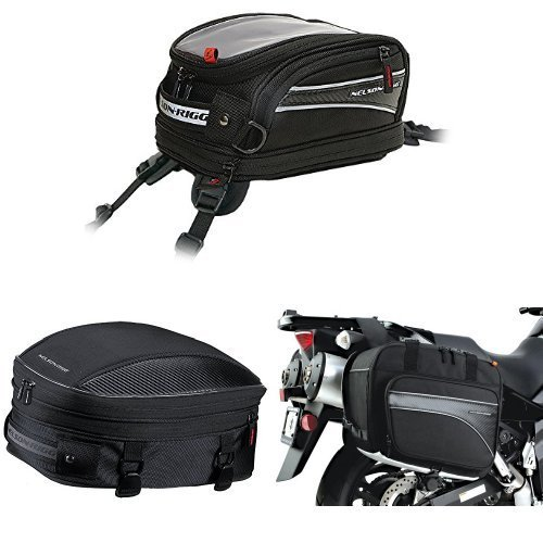 Nelson-Rigg CL-2014-ST Black Strap Mount Journey Mini Tank Bag,  CL-1060-S Black Sport Tail/Seat Pack,  and  (CL-855) Black Touring Adventure Saddlebag Bundle