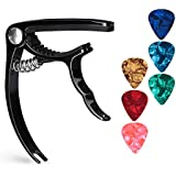Guitar Capo Guitar Accessories Trigger Capo with 6 Free Guitar Picks for Acoustic and Electric Guitars - Also Ukulele & Banjo Capos (Black)