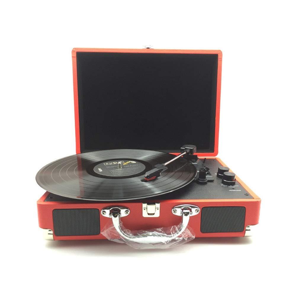 ブルートゥースの携帯用ノスタルジックなレトロの蓄音機のビニールレコード機械記録プレーヤーのビニールのビンテージスーツケース ステレオスピーカー (色 : 赤, サイズ : Free size) B07SPB4C2B 赤 Free size