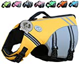 Vivaglory New Sports Style Ripstop Dog Life Jacket with Superior Buoyancy & Rescue Handle, Yellow, M