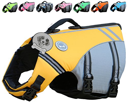 (Vivaglory New Sports Style Ripstop Dog Life Jacket with Superior Buoyancy & Rescue Handle, Yellow,)