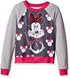 Disney Big Girls' Minnie Mouse Hacci Sequin Pullover, Black/Heather Grey/Red, 10/12