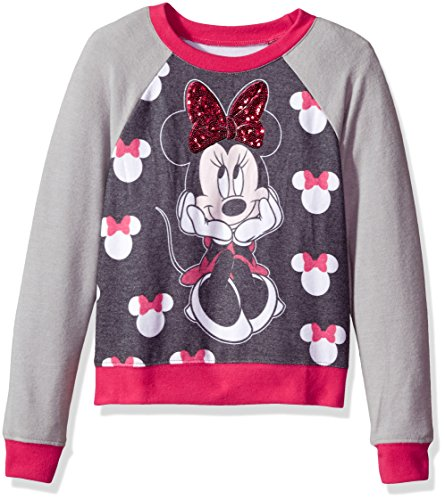 Disney Girls Big Minnie Mouse Hacci Sequin Pullover