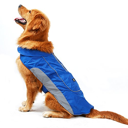 UsefulThingy Dog Rain Coats for Small Medium or Large Dogs - Rain Jacket with Reflective Stripes for Safety - Warm Waterproof Raincoat with Harness Hole, 7 Sizes 3 Colors]()