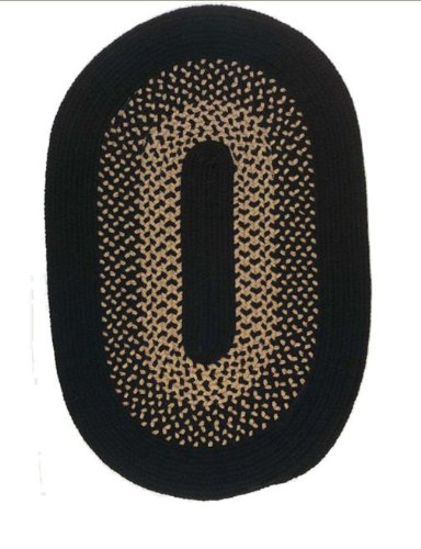 - Madison Colonial Mills Floor Decorative Jet Black Oval Area Rug - 5'x8'