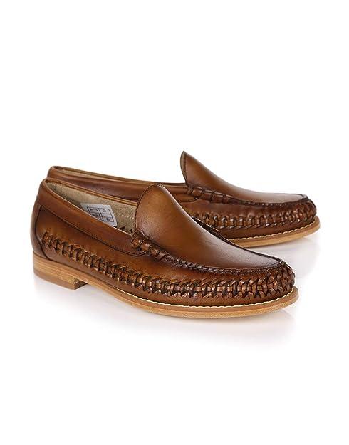 G.H. Bass - Mocasines de Piel para Hombre Marrón Gris Oscuro/Dorado 300x420mm: Amazon.es: Zapatos y complementos