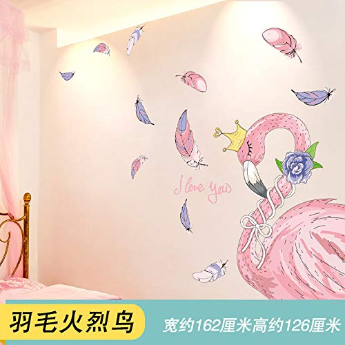 (Wall Stickersins Wind Decoration of Bedroom Wall Artifact Flamingo Wall Sticker Wallpaper Self-Adhesive,04 Feathered Flamingo,Extra)