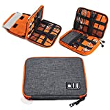 METORY Travel Accessories Electronics Organizer, Universal Cable Management Organizer Travel Bag For USB, Phone, iPad, Charger and Cable (Double Layer, Large, Grey and Orange)