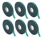 MMTM 6 Rolls - 200 FT x 1/2'' Stretch Tie Tape Plant Ribbon Garden Green Vinyl Stake