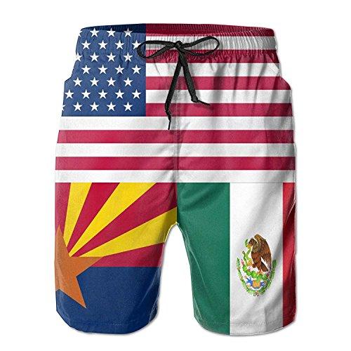 USA Mexico Arizona Flag Men's Summer Quick Dry Beach Board Shorts Surfing Shorts XX-Large -