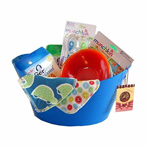 Gerber Organic Cereals, Bowls, Spoons, Cloth Wipes. Baby Feeding Set In Fun Storage Bucket (Blue)
