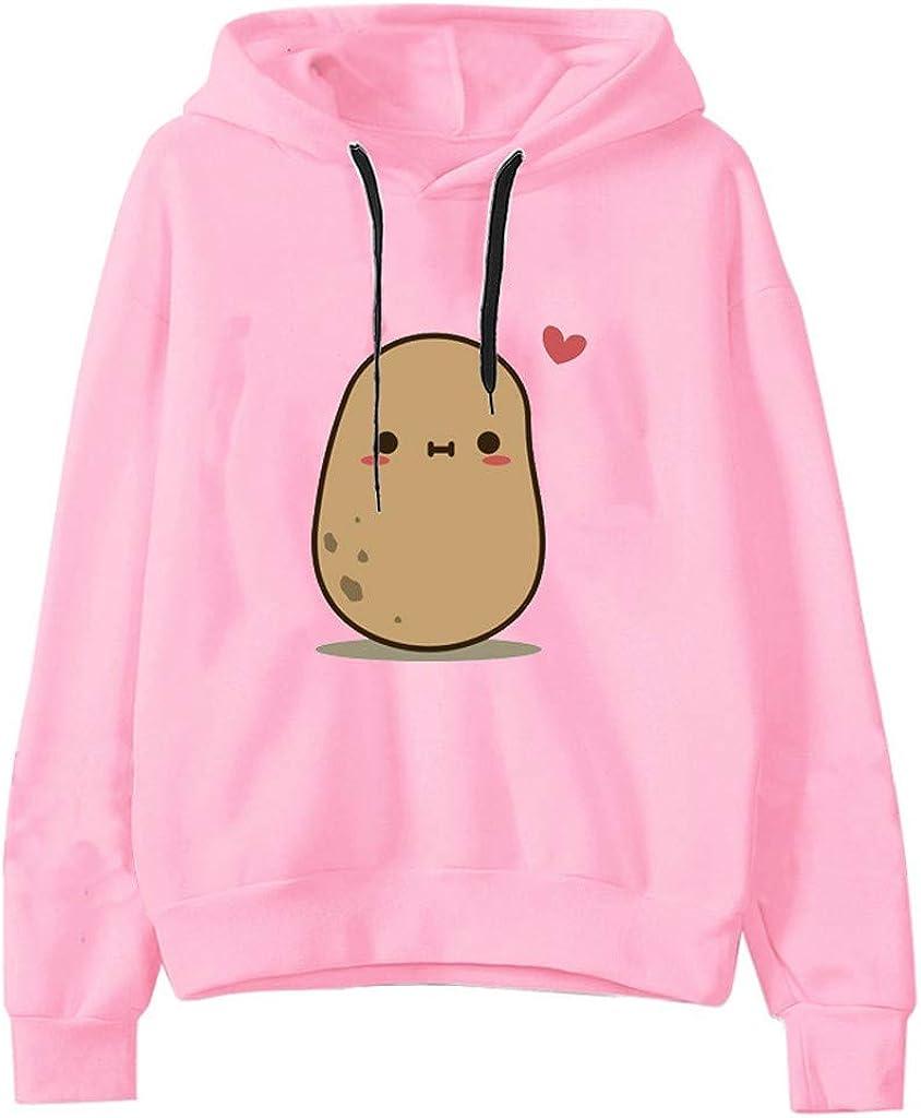 Kinsaiy Women Sweatshirt Hoodies Casual Print Long Sleeve Pullover Tops Loose Blouses Top Plus Size Hooded Sweatshirt