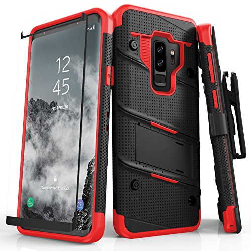 Zizo Bolt Series Compatible with Samsung Galaxy S9 Plus Case Military Grade Drop Tested with Tempered Glass Screen Protector Holster Black RED