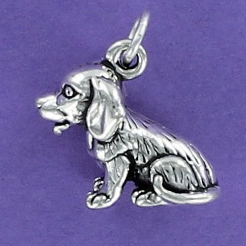 (Long Hair Beagle Charm Sterling Silver for Bracelet Dog Puppy Pet Sitting - Jewelry Accessories Key Chain Bracelets Crafting Bracelet Necklace)