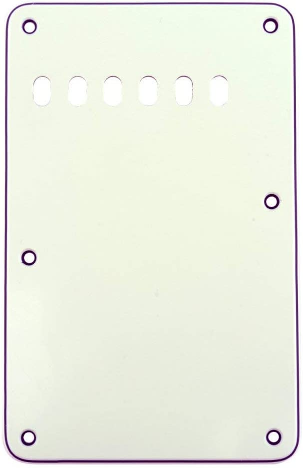 Musiclily Pickguard Strat Back Plate Tremolo Cavity Cover Vintage Style Backplate for Fender US//Mexico Made Standard Stratocaster Modern Style Electric Guitar,3Ply Cream