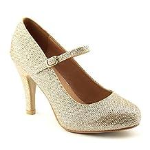 Women's Mary Jane Stiletto Pumps Fashion Bows Almond Toe High Heel Dress Shoes