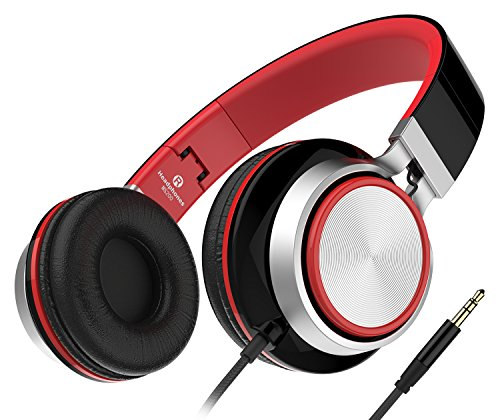 Sound Intone MS200, faltbarer On-Ear Hi-Fi Kopfhörer, 3.5mm Klinkenstecker (Schwarz/Rot)
