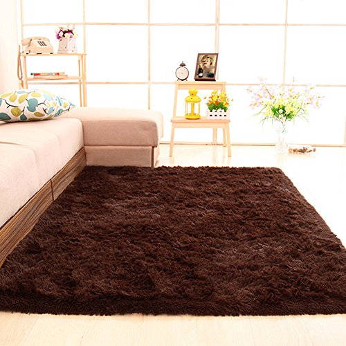 (gdmgdr Ultra Soft and Fluffy Nursery Rugs 4cm High Pile Area Rugs for Bedroom and Living Room 4' x 5.3', Coffee)