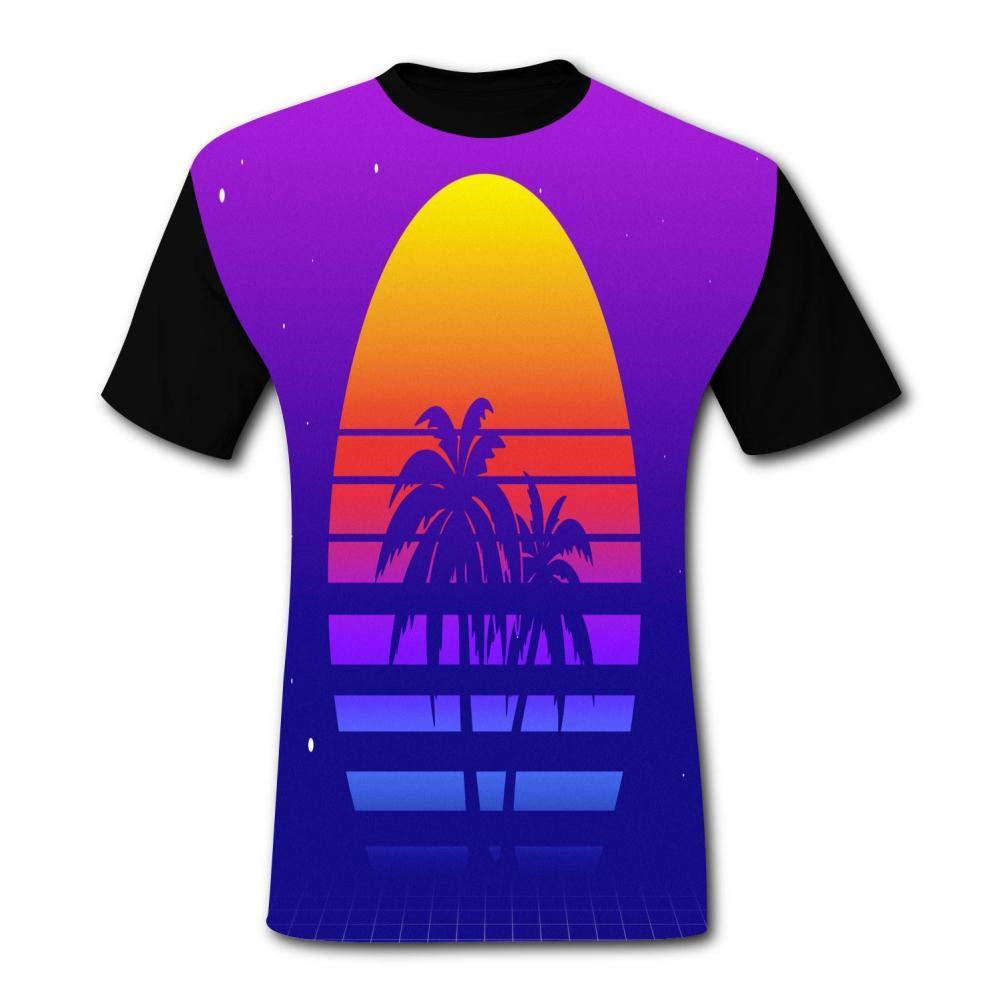 Beach Coconut Tree Short-Sleeved T-shirts for Men in Latest North America Fashion Adults T-shirts