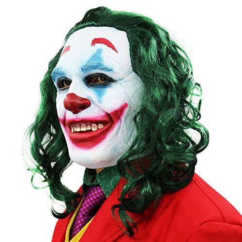 2019 Movie Costumes (2019 Joker Mask Cosplay Horror Scary Smile Evil Clown Halloween Latex)