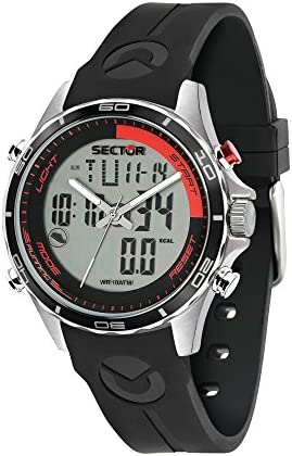 Sector No Limits Men s Master Stainless Steel Analog-Quartz Sport Watch with Silicone Strap, Black, 18 Model R3271615002